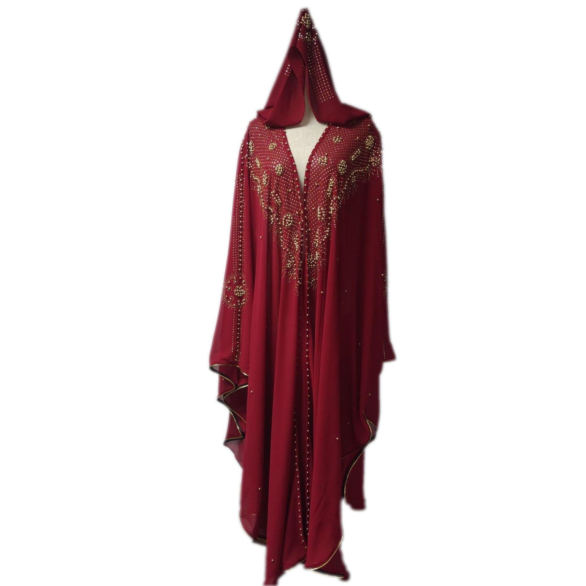 Ensemble 2 pièces Robe africaine pour femmes Dashiki perles de diamant vêtements africains Abaya dubaï Robe de soirée longue Robe musulmane Cape à capuche