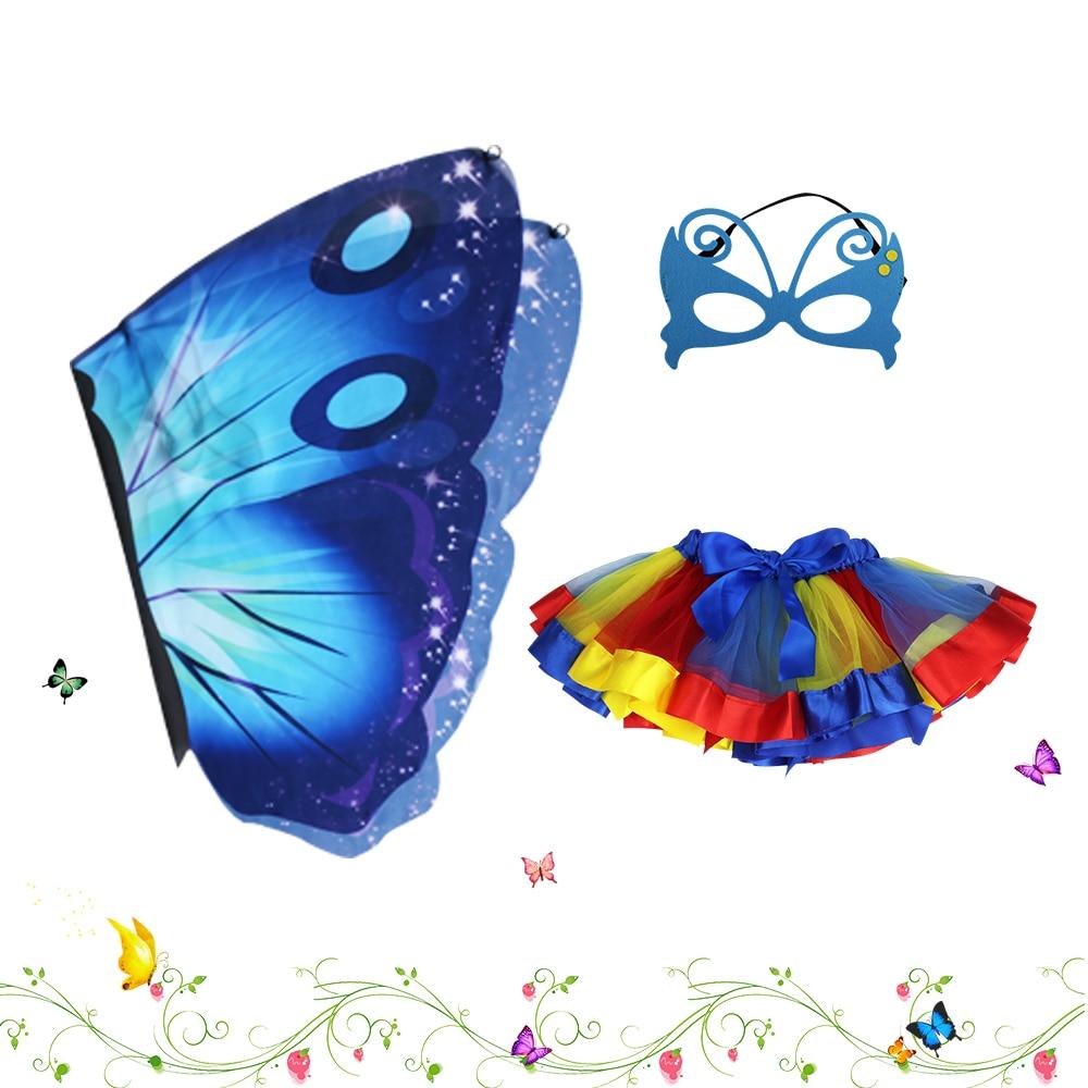 D.Q.Z Prinses Kostuum Meisjes Marineblauw Vlinder Vleugel - Carnavalskostuums