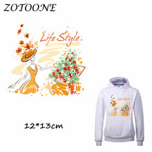 ZOTOONE Flower Patches Heat Transfer Patch Iron on for Clothes Beaded Applique DIY Letter Accessory Decoration C