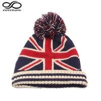 Winter Warm Beanie US UK National Flag Knit Hat For Womem Men Poms Ball Ski Cap