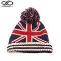 Moda Invierno Cálido Beanie EE. UU. Bandera Nacional del REINO UNIDO de Punto Hat Para Womem Hombres Poms Bola Gorra de Esquí (elástico Tamaño)