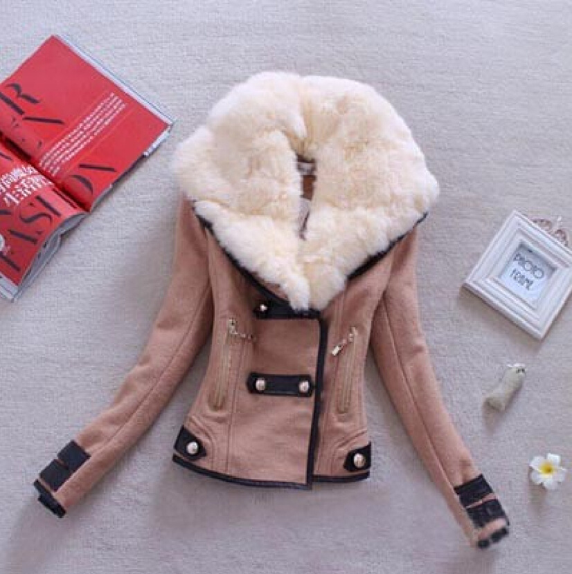 Mulheres de lã casaco casual inverno outono 2017 moda nova marca plus size S-XXL zíper fino sólida parka casaco feminino