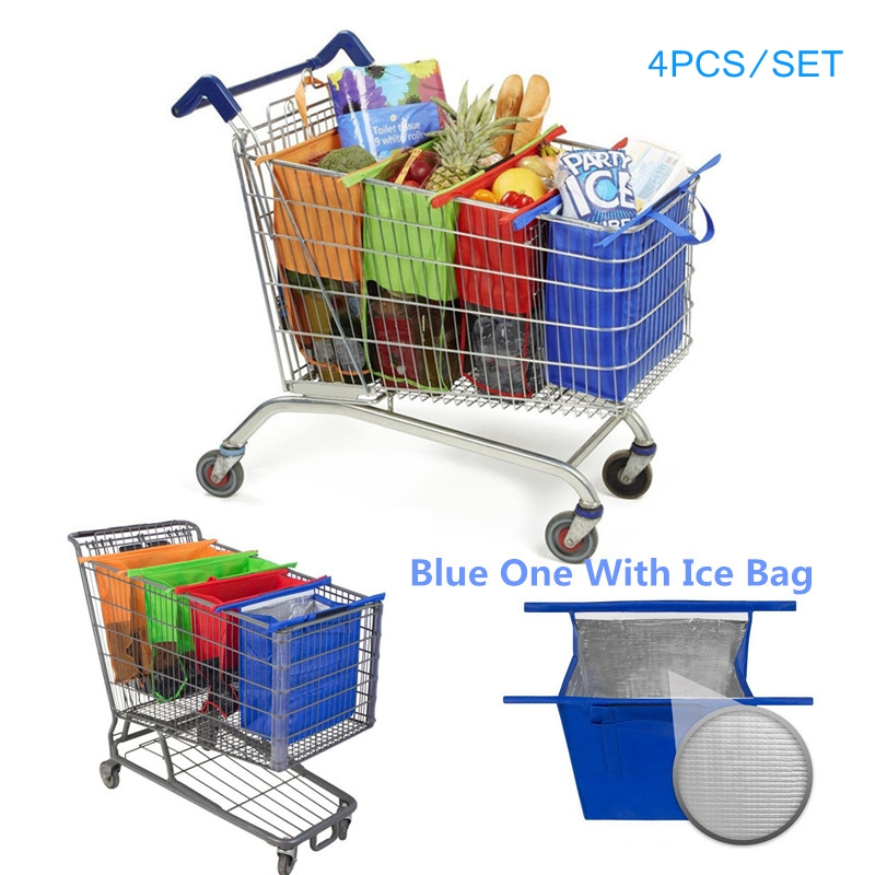 Wholesale 80pcs Cart Trolley Supermarket Shopping Bag Grocery Grab Shopping Bags Foldable Tote Eco friendly Reusable
