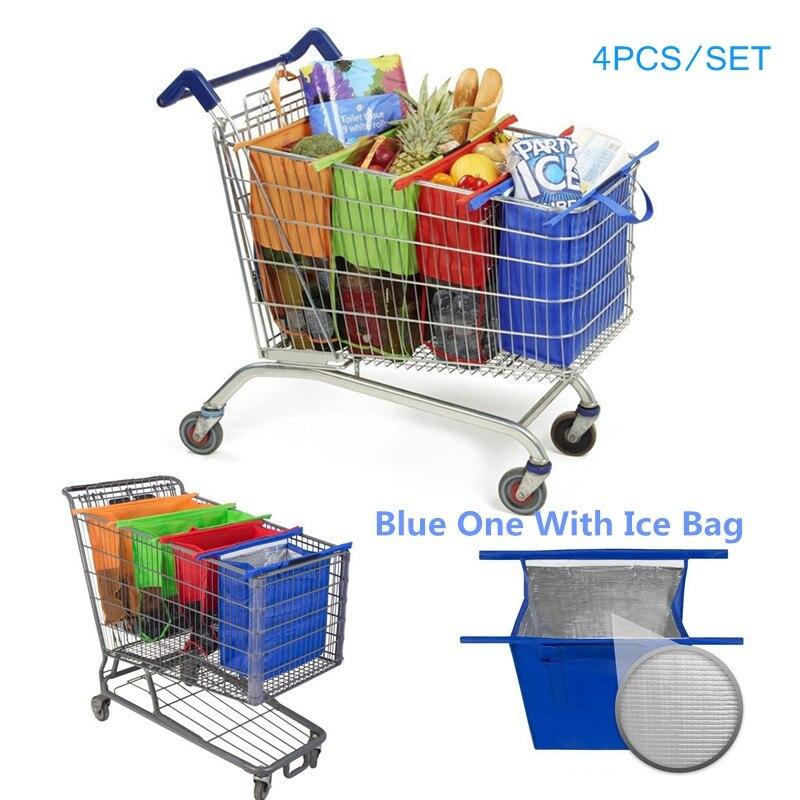 Ev ve Bahçe'ten Saklama çantaları'de Toptan 80 adet Sepeti Arabası Süpermarket alışveriş çantası Bakkal alışveriş çantası s katlanabilir bez çanta Çevre Dostu Yeniden Kullanılabilir 4 adet/takım'da  Grup 1