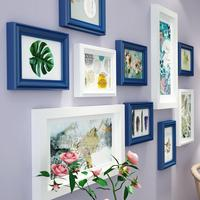 Multi frames Jianmei wood photo frame round European shelf photo wall room living room decoration pastoral style picture frame