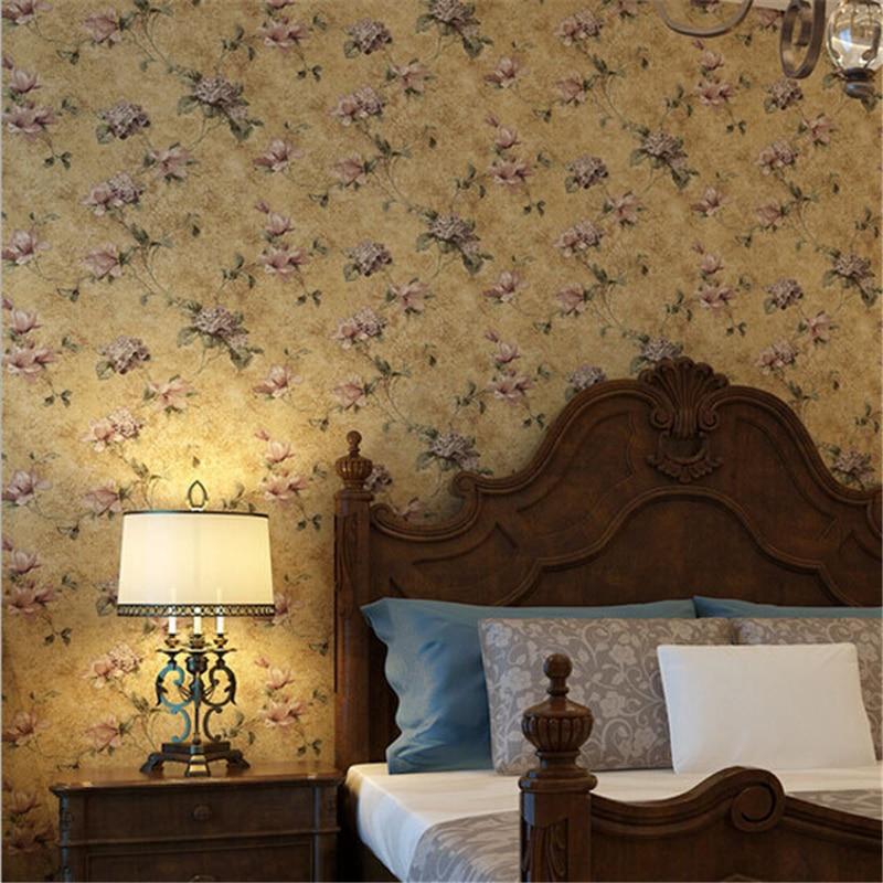 Beibehang pays américain pastorale 3D papier peint rouleau Vintage Floral papier peint Non-tissé rétro Mural fleurs Papel de Parede