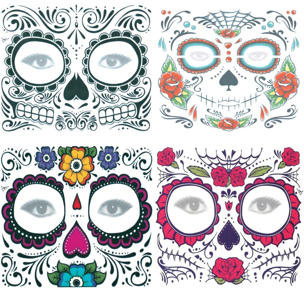 Us 333 26 Off4pcs Halloween Temporary Tattoo Sticker Face Tattoo Day Of The Dead Dia De Los Muertos Face Mask Sugar Skull Tattoo Sticker Set In