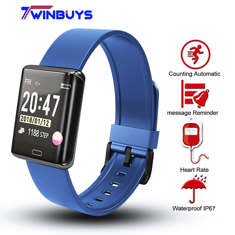 Twinbuys T11 reloj inteligente 1,3 pulgadas pantalla TFT IP67 impermeable Monitor de ritmo cardíaco recordatorio sedentario Anti-perdido deportes pulsera