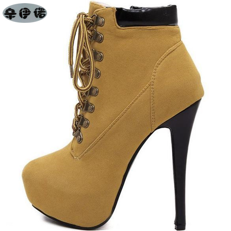 купить women boots sexy high heels platform ankle boots for women botas femininas thin heel lace up night high heel boots black yellow по цене 1945.41 рублей