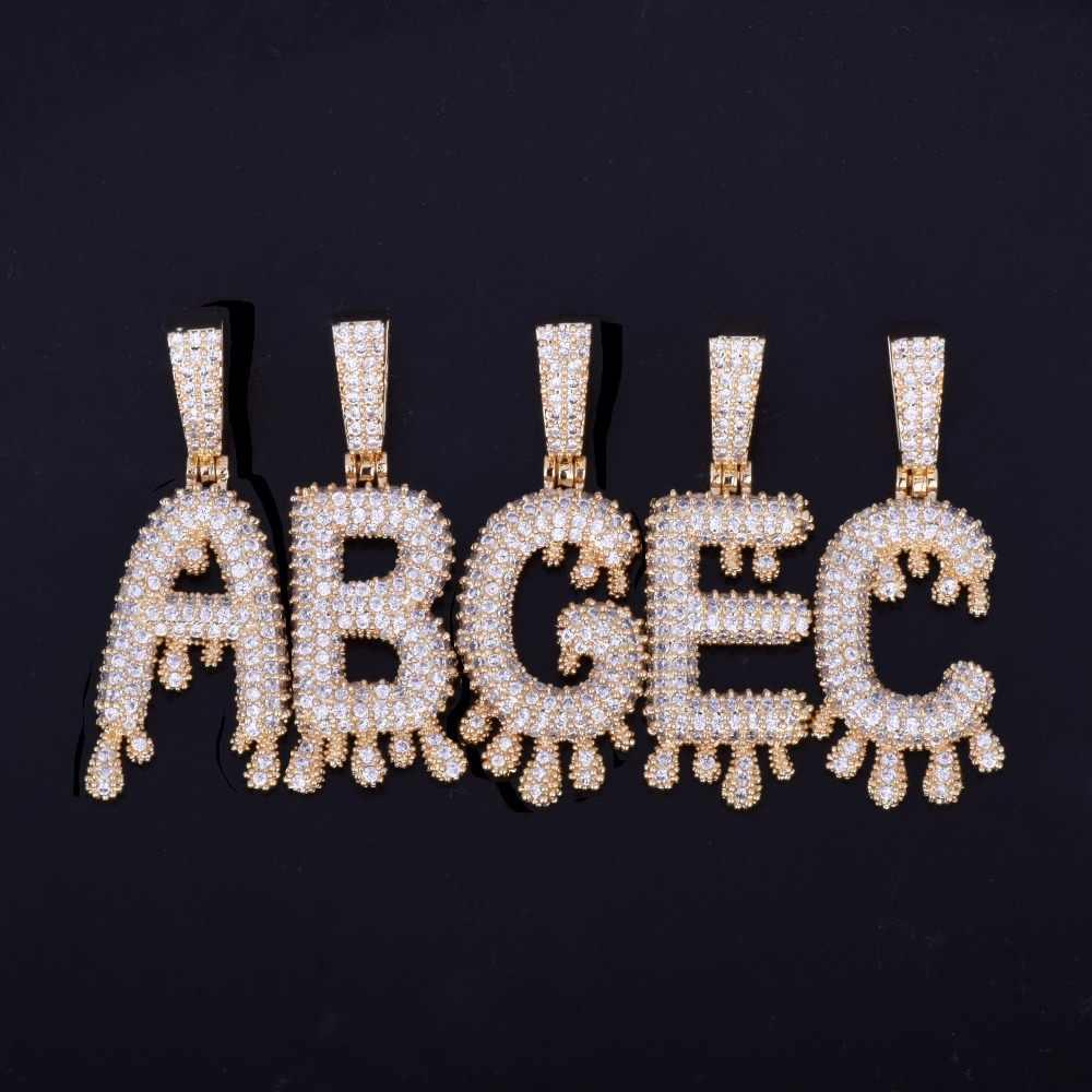 A-Z ขนาดเล็กหยด Bubble ตัวอักษรสร้อยคอและจี้ Custom ชื่อ Charm สำหรับชาย/ผู้หญิง Silver Silver Cubic Zircon Hip hop เครื่องประดับ