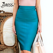 INDRESSME 2019 Women Bandage Solid Work Skirt For Lady Knee Length Bodycon