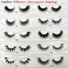 100Pair/Pack Visofree Mink Eyelashes Invisible Band False Eyelashes Natural Clear band Cilios Long Cruelty Free Mink Lashes