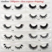 Faux cils vison Visofree, bande Invisible, naturel, bande claire, longs, sans cruauté, 100 paire/paquet