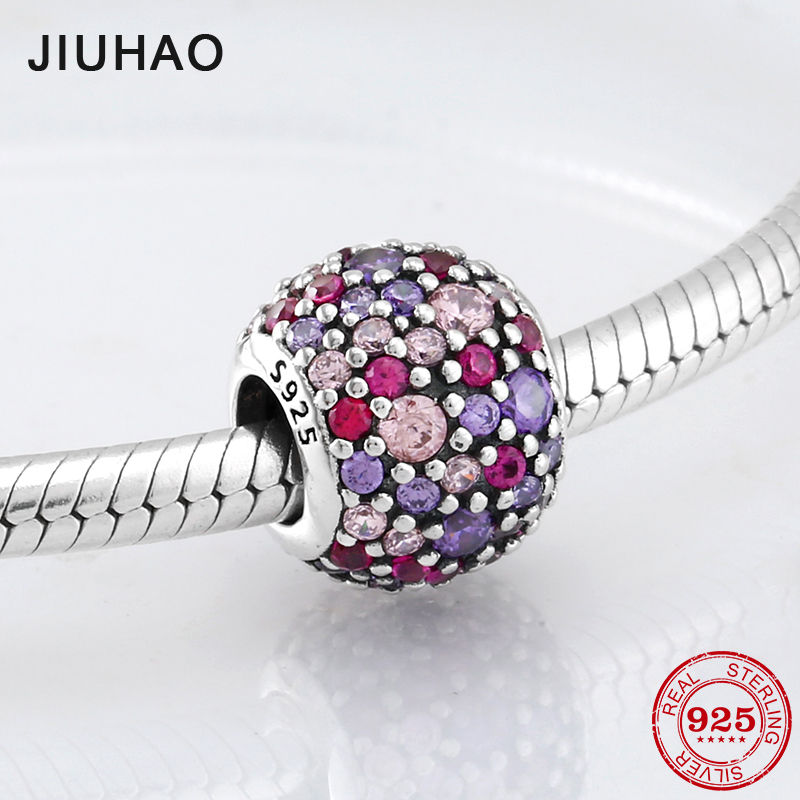 Woman 2018 fashion luxury 925 Sterling Silver pink and purple CZ beads Fit Original Pandora Charm Bracelet Jewelry making bbk ep 1200s green