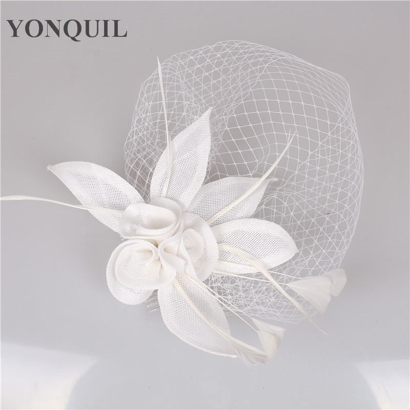 White color wedding Headband delicate headwear Wedding Fascinator face Veil Feather Hat Women Brides fashion Hair Accessories women s hats and fascinators vintage sinamay sagittate feather fascinator with headband tocados sombreros bodas free shipping