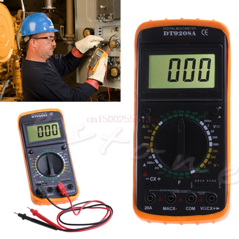 Digital Multimeter LCD AC/DC Ammeter Resistance Capacitance Tester DT9208A new portable dt9208a 1999 counts lcd display multimeter electric handheld ac dc resistance capacitance voltmeter ammeter