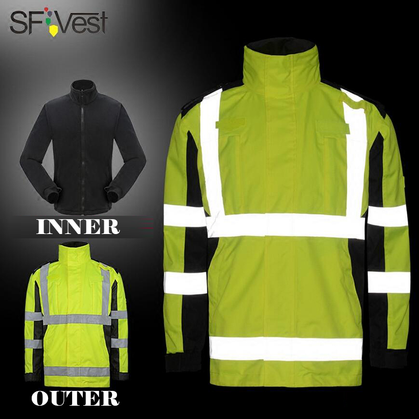 SFVEST 3 IN 1 THERMAL WINTER REFLECTIVE TRAFFIC SAFETY JACKET PARKA OIL RESISITANCE WATERPROOF WINDPROOF WINDBREAKER FREE POST