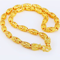 Luxury Statement Jewelry Mens Chain Necklace Yellow Gold Filled Domineering Dragon Head Jewelry