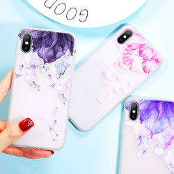 Ottwn чехол для iPhone X 8 7 6 6s плюс 3D рельеф цветы акварель цветочные лепестки мягкие чехлы из термополиуретана чехлы для iPhone XS XR XS MAX
