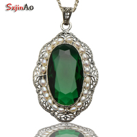 Szjinao Fashion Jewelry Wholesale Natural Pearl Pendant Emerald Carving 925 Sterling Silver Pendant Women Handmade