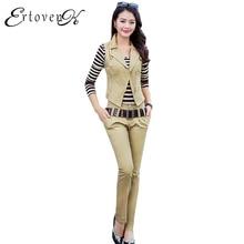 Autumn New Cowboy Vest Jackets Women Striped T-shirt Long Trousers Three piece Large size Denim Clothing Slim 2017 Lady CoatsC03