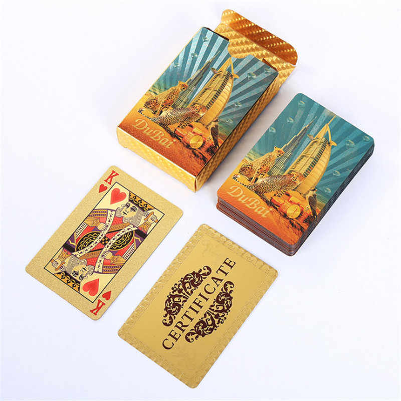 Дубай Леопард Золото Покер игры палуба золото фольга покер набор пластик Волшебная карта водонепроницаемая карта чехол
