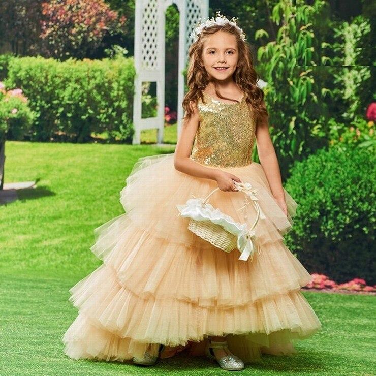 2019 Flower Girl Dress Ball Gown Scoop Neck Sleeveless Asymmetry Cascading Ruffles Sequins Custom Princess Flower Girl Dress