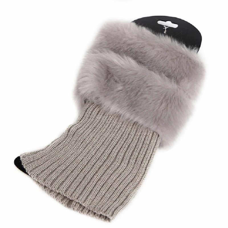 1 çift Yüksek Kalite Yeni Kadın Kış Bacak Isıtıcıları Bayan Tığ Örgü Kürk Trim Bacak Çizme Çorap Toppers Manşetleri