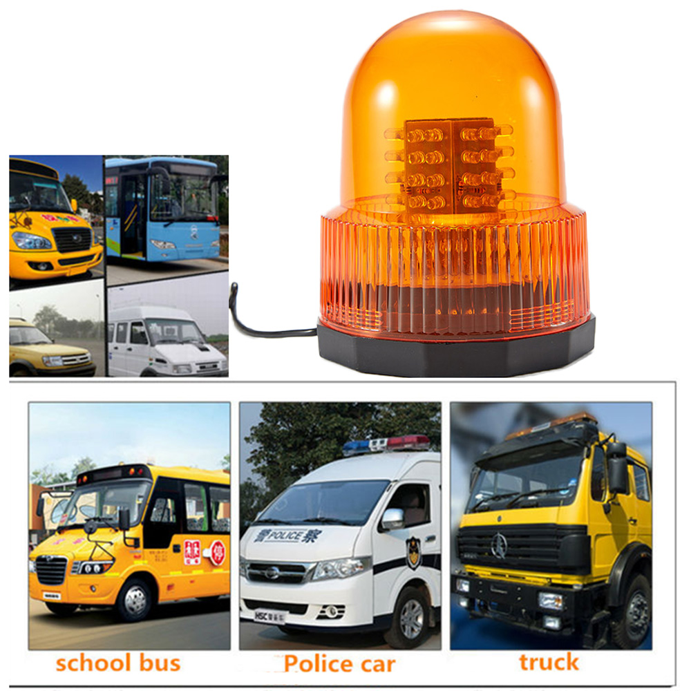 Yellow 72 LED Strobe Light 12/24V Super Bright Car Truck Van Warning Flasher Caution Emergency Light Flashlight happy hop 9201p