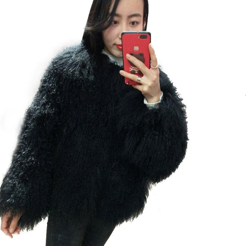 Kobiety prawdziwe mongolski futro z owczej skóry płaszcz damski skórzany krótki styl plaża wełna, futro kurtka damska odzież wierzchnia w Prawdziwe futro od Odzież damska na  Grupa 3