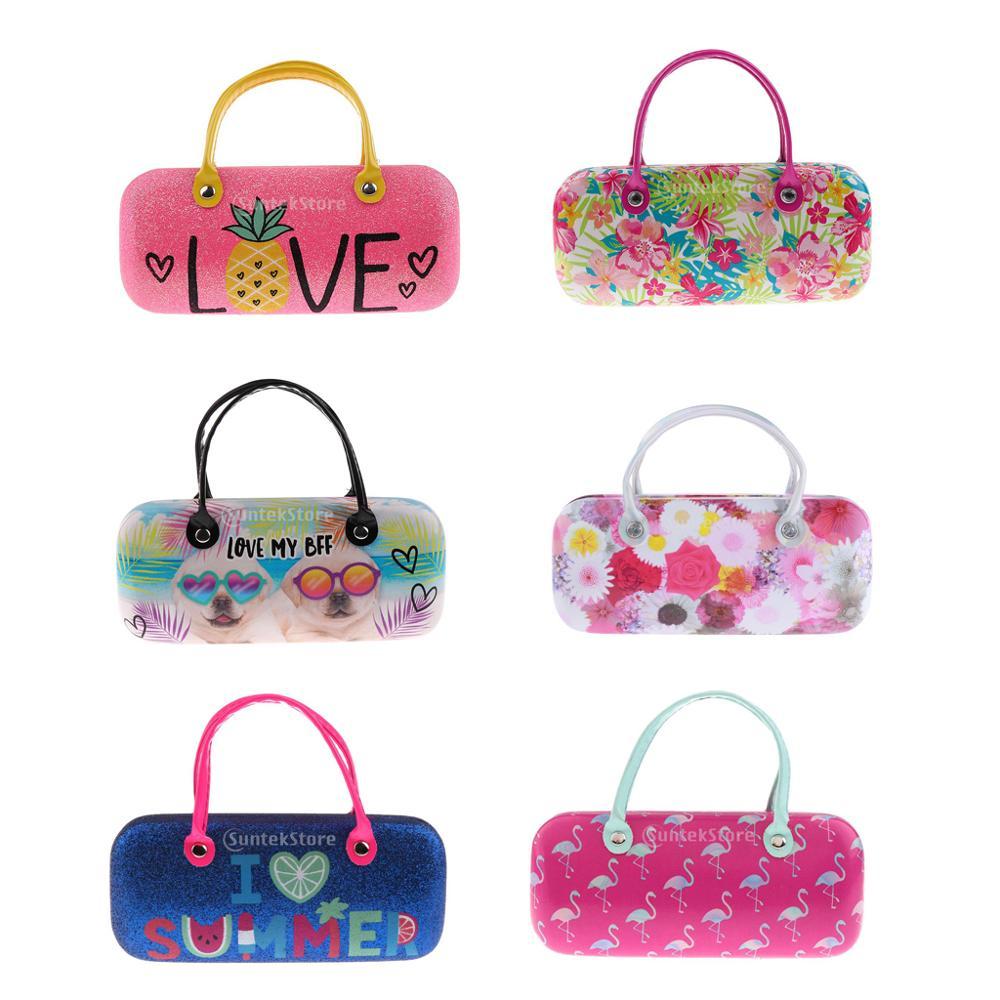 Children Cute Hard Eyeglasses Case Kids Sunglasses Box Hand Pouch For Protector Glasses Box Holder Pineapple Puppys Print