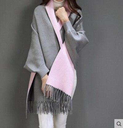 SC2 большой шарф Зимний вязаный пончо женский однотонный дизайнерский плащ женский длинный рукав летучая мышь пальто винтажная шаль - Цвет: Grey With Pink