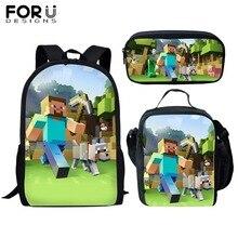 ed9ee7854 Saco de Escola personalizado Mochila Impressão 3 PCS Minecraft Meninos  Estudantes Schoolbag Sacos de Livro Crianças