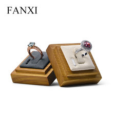 цены FANXI Solid Wood Creamy-white/Gray Ring Display Stand with Microfiber insert for Jewelry Exhibition Ring  Holder Organizer