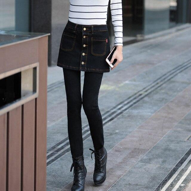 Bonita Manera de Las Mujeres Ropa de Mezclilla Negro Pantalones de Algodón  Fino Pies de Cintura 9c2e7f564e64