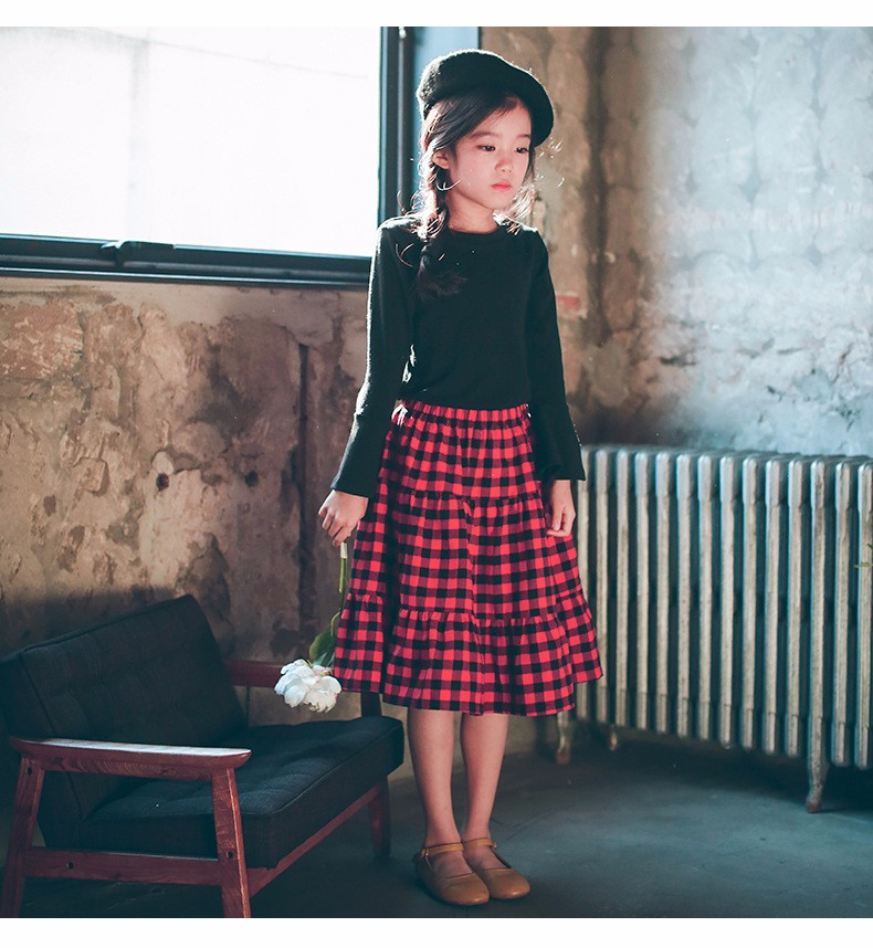 England style long skirts for baby teenage girls red plaid pleated skirt girl 2017 new spring autumn winter children clothing 5 6 7 8 9 10 11 12 13 14 15 16 years old little big teenage girls pleated skirts for kids (25)