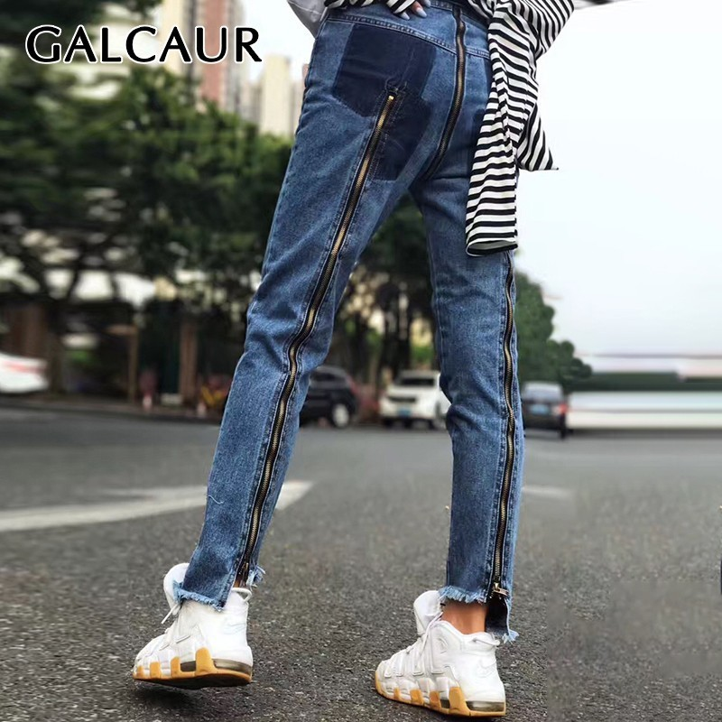 GALCAUR coréen Zipper Patchwork femmes Jeans taille haute Hit couleur Slim irrégulière ourlet Denim Long pantalon femme mode été 2019