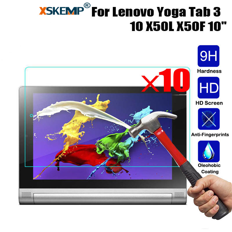 XSKEMP 10PcsLot Ultra Clear Screen Protector For Lenovo Yoga Tab 3 10 HD Tempered Glass Film Tablet 9H Hard Anti-Scratch Guard
