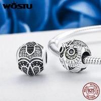 WOSTU Brand Design 925 Sterling Silver Wise Owl Animal Beads Fit Original WOST Charm Bracelet DIY