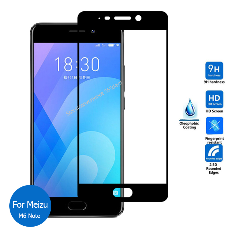 For Meizu M6 Note Front Full Cover Tempered Glass Screen Protector 2.5 9H All Coverage Safety Protective Glass On M6Note M 6 refletor fq led