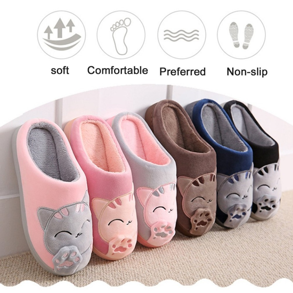 Cartoon Cat Plush Women Winter Home Slippers Home Indoor Shoes Non-slip Warm Bedroom Shoes Lovers Couple Shoesnew plush home slippers women winter indoor shoes couple slippers men waterproof home interior non slip warmth month pu leather
