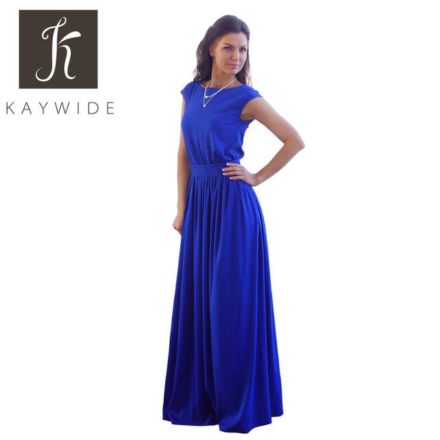 Kaywide 2016 summer elegant beach dress con fajas túnica plisada imperio azul largo maxi vestidos tallas grandes ropa de mujer cinturón