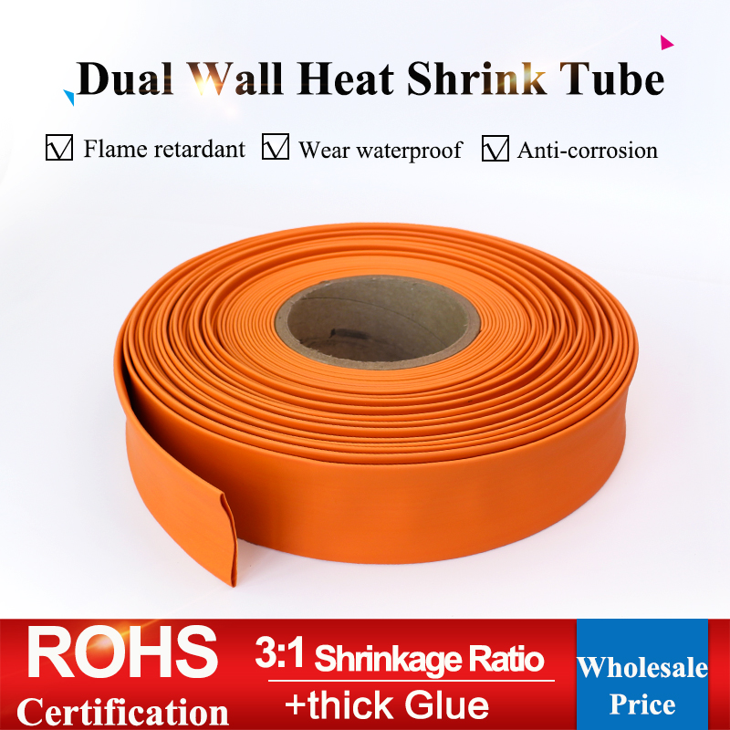 1.6/2.4/3.2/4.8/6.4/7.9/9.5/12.7/15mm Orange 3:1 Ratio Dual Wall Heat Shrink Tubing Adhesive Thick Glue Tube Wrap Wire Cable Kit Clients First