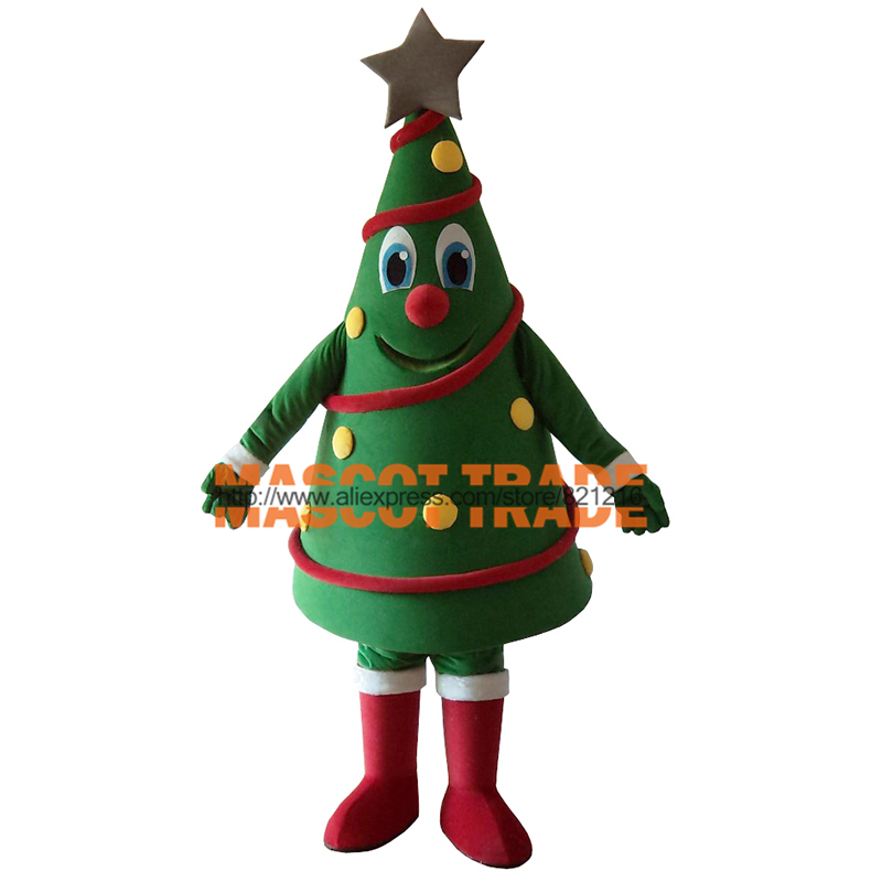 Ventes chaudes Vert Arbre De Noël Costume De Mascotte pour Halloween party événement