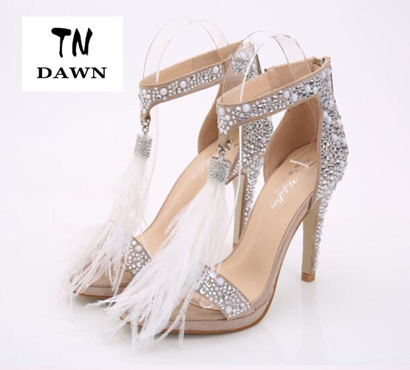 ФОТО Sheepskin Roman Sandals Women Shoes 2016 Ostrich feather Sandals Crystal Tassel Sandals Women high heels Sandalia Feminina 33-40