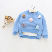 2017 New Girls Hoodies Cute Bulb Cotton Fleece Casual O-Neck Pullover Solid Tops Kids Bottoming Shirt Pretty