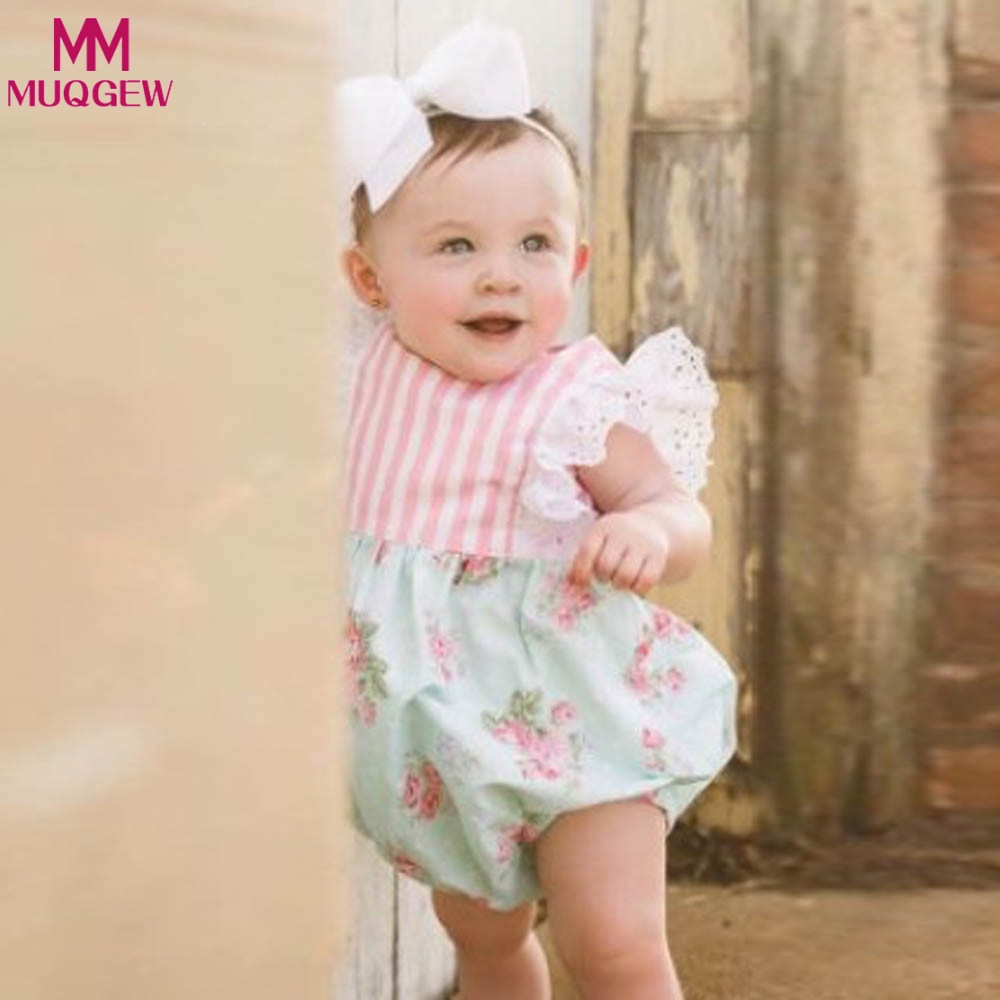 Cute Newborn Toddler Baby Kids Girl Lace Floral Fly Sleeve Heart Kids Romper Jumpsuit Outfits Sunsuit Baby Girls Clothes 3pcs set newborn infant baby boy girl clothes 2017 summer short sleeve leopard floral romper bodysuit headband shoes outfits