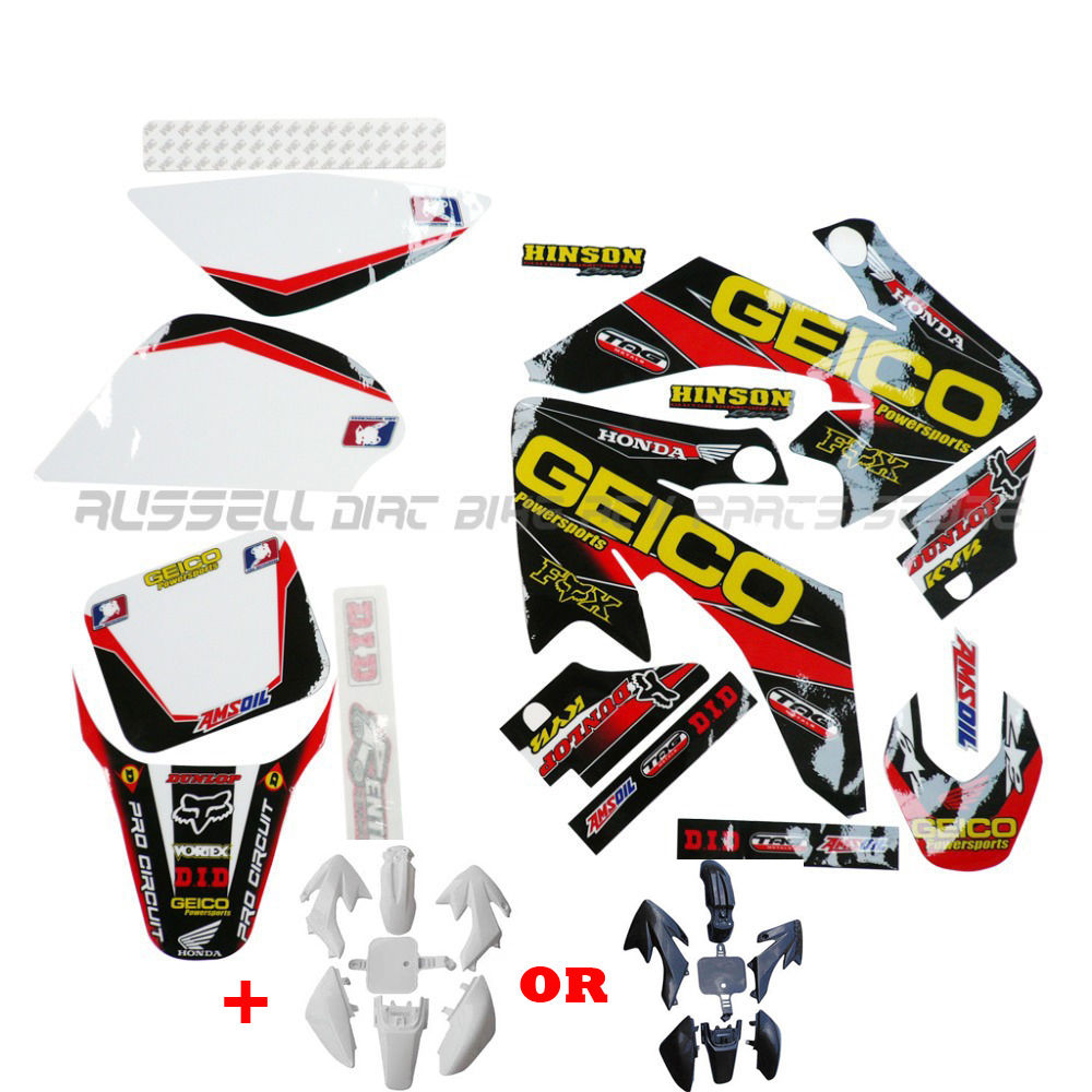 Motorcycle BODY PLASTIC DECALS KIT for HONDA XR50 CRF50 SSR SDG 107 110 125 PIT BIKE