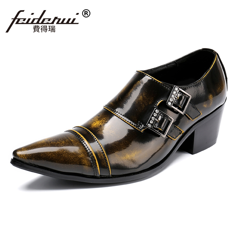 Plus Size Vintage Pointed Toe Monk Strap Male Loafers Patent Leather High Heels Runway Wedding Party Men's Shoes For Man SL176 old monk в москве