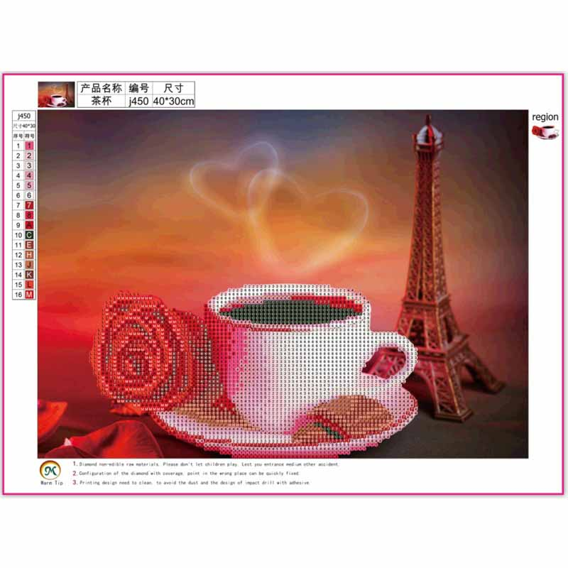 FineTime 5D Coffee Cup Pattern Diamond Embroidery Diy Sewing Diamond Cross stitch Round Diamond Painting Decoration in Diamond Painting Cross Stitch from Home Garden